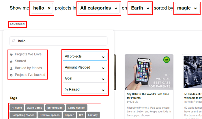 Sort and filter your Kickstarter project search