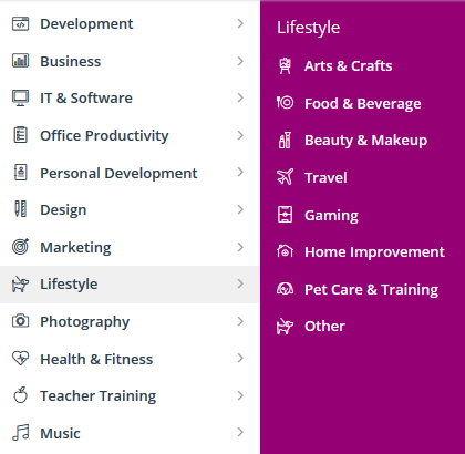 Udemy course categories
