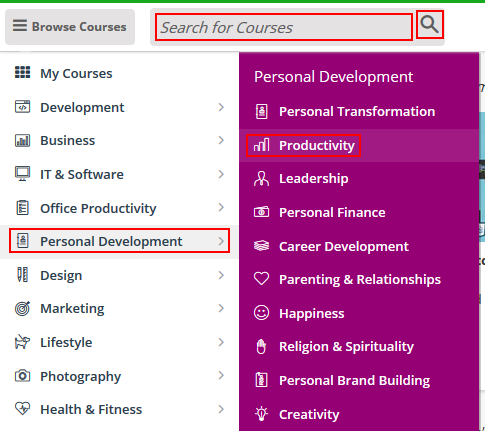 How to browse or search for a Udemy course