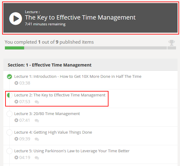 How to select a Udemy lecture to view