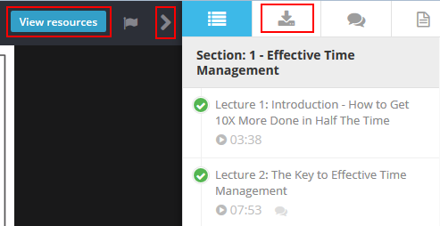 How to find additional materials to download from a Udemy lecture