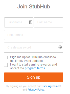 The StubHub account creation form