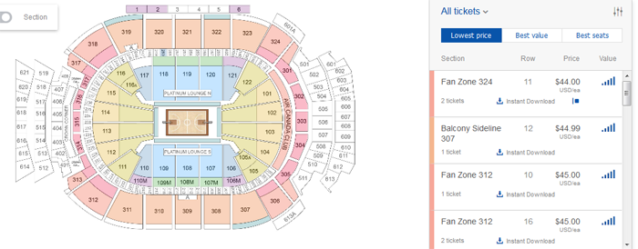 Selecting venue seats on StubHub