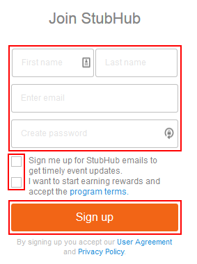 The sign up form for StubHub