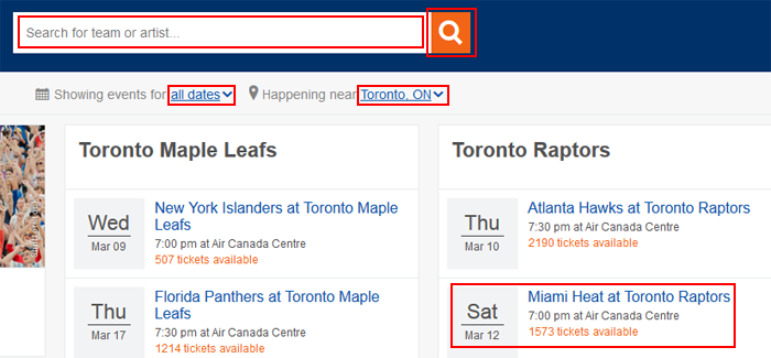 Search for and select a StubHub event