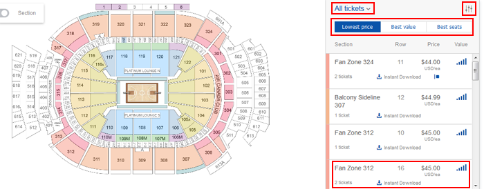 View available venue seats on StubHub