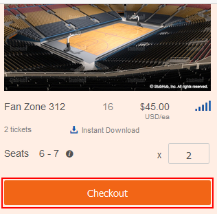 Select a ticket package on StubHub