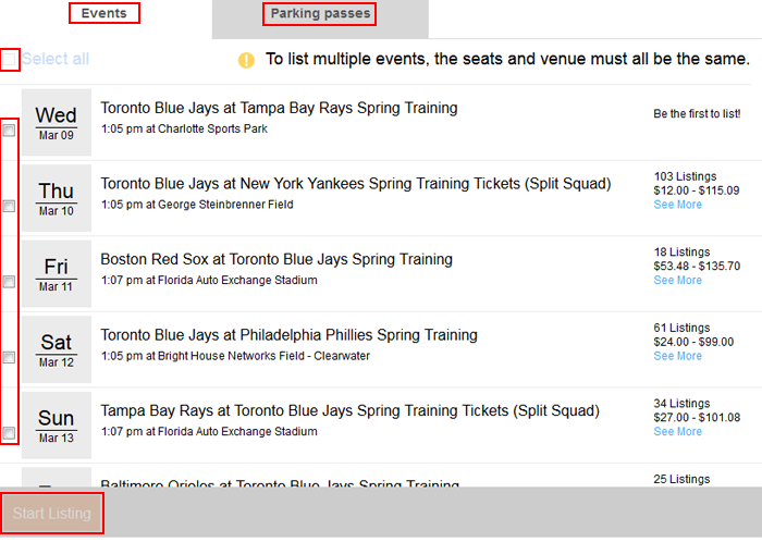 Select StubHub events to sell tickets for