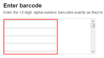 Enter StubHub ticket bar code numbers