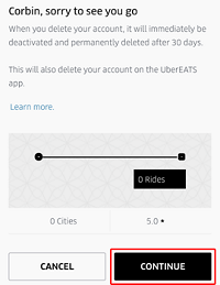Confirm deletion of Uber account button
