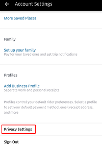 Uber privacy settings menu