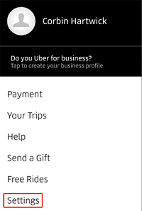 Uber Settings menu in app