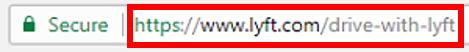 Lyft URL in web browser