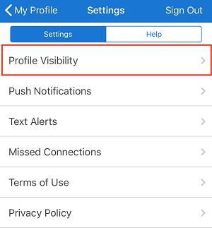 iOS profile visibility setting