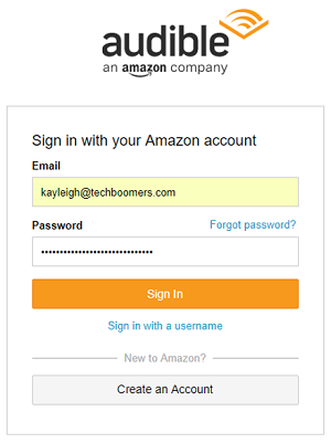 Sign in screen for Amazon account on Audible website