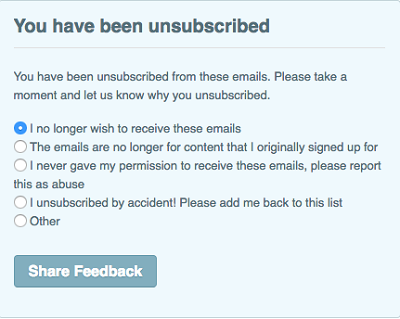 List of reasons for unsubscribing from newsletter