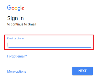Gmail sign in screen
