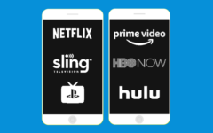 Logos for apps like YouTube TV on a smartphone