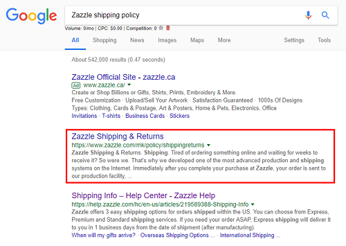 Shipping policy for Zazzle
