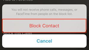 """""""Block Contact"""" button"""