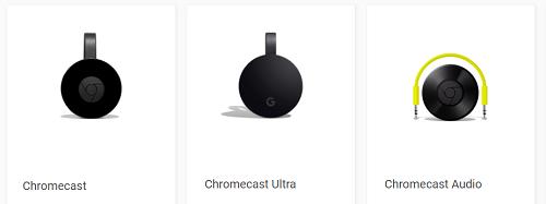 Various Google Chromecast devices
