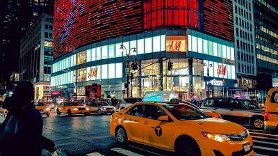 Crowded city corner