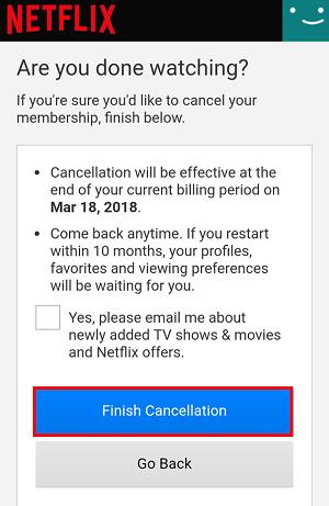 Finish Cancellation button (app)