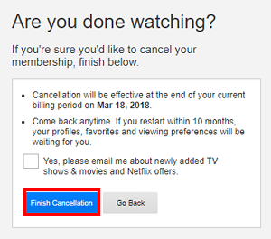 Finish Cancellation button