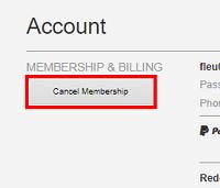 Cancel Membership button