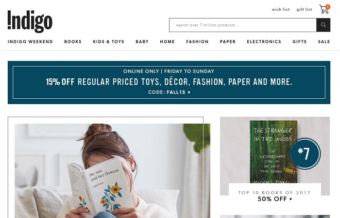 Chapters-Indigo website