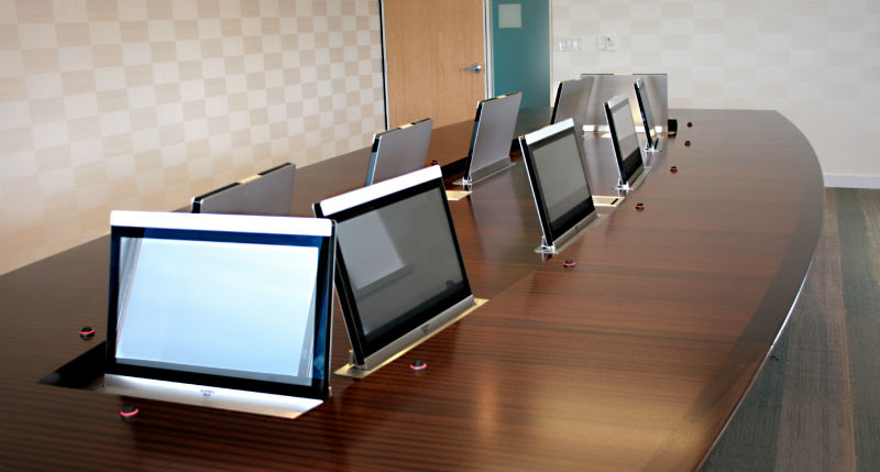 Custom Conference Table Hides Impressive AV System In Executive - Conference table displays
