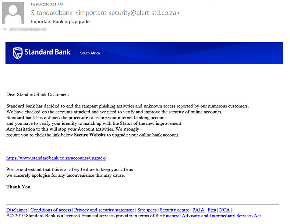Bank Phishing Example Cyber Security