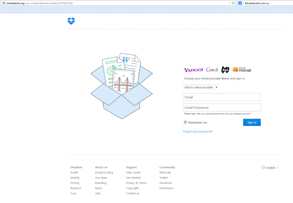DropBox Phishing Example Cyber Security