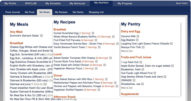 Screenshot: Food Journal