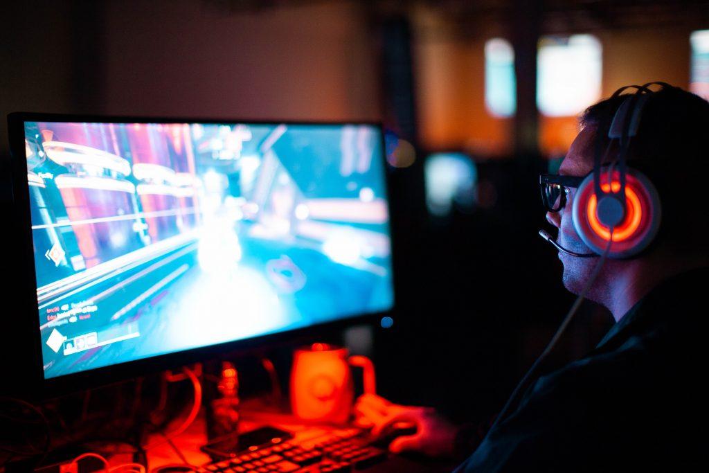 A gamer playing game