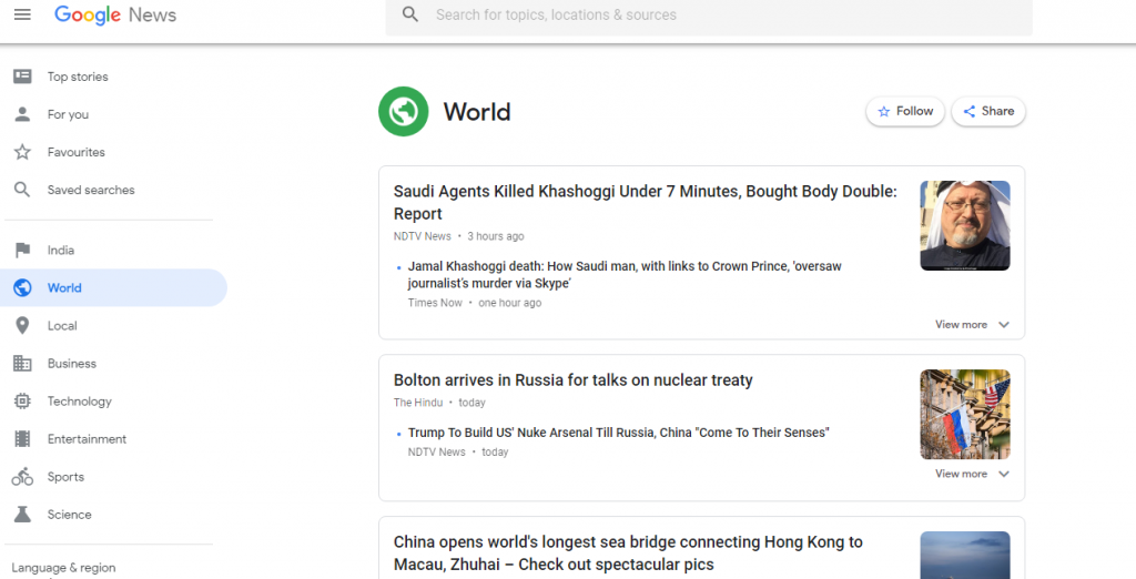 Google News Screen Shot