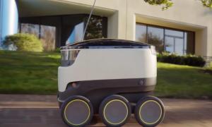 Starship robot in motion