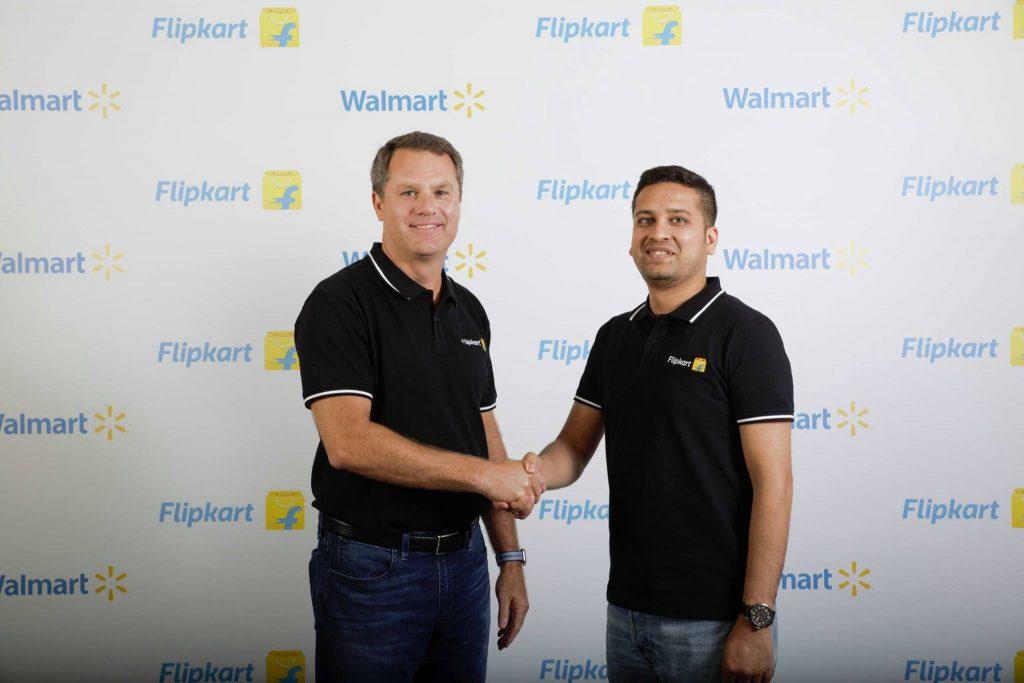 Flipkart CEO Binny Bansal Shaking Hands with Walmart Executive
