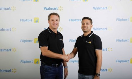 Flipkart CEO Binny Bansal Shaking Hands with Walmart Executive