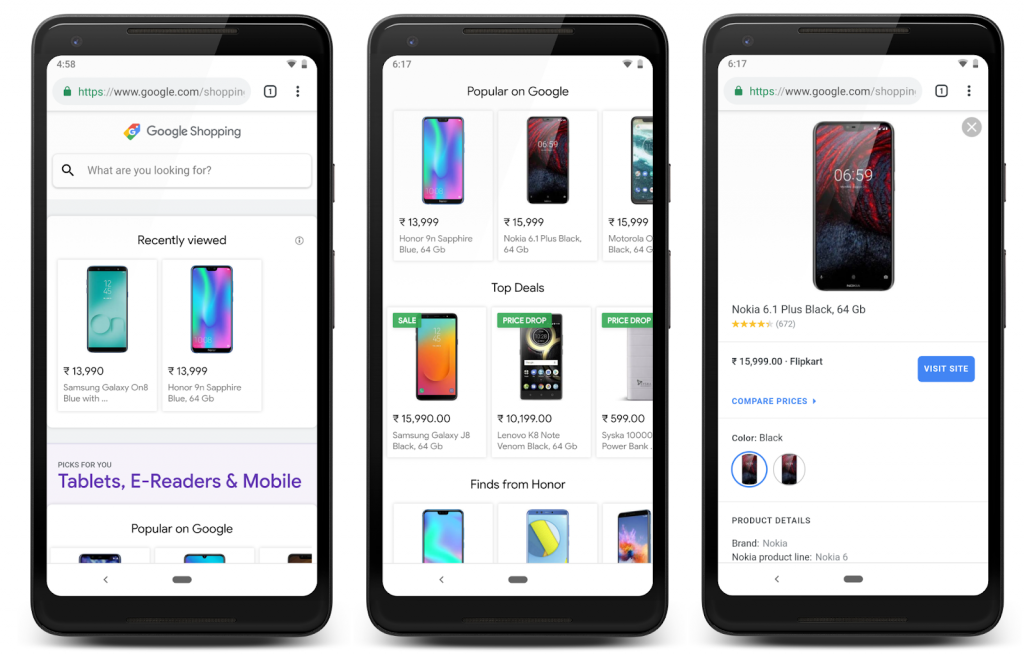 Google Shopping home page screen