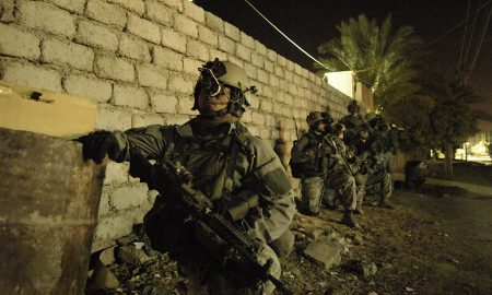 US army patrolling at night