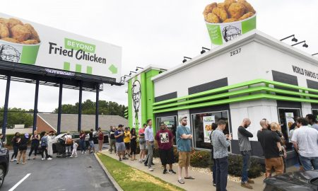 KFC people in ques to buy plant-based chicken