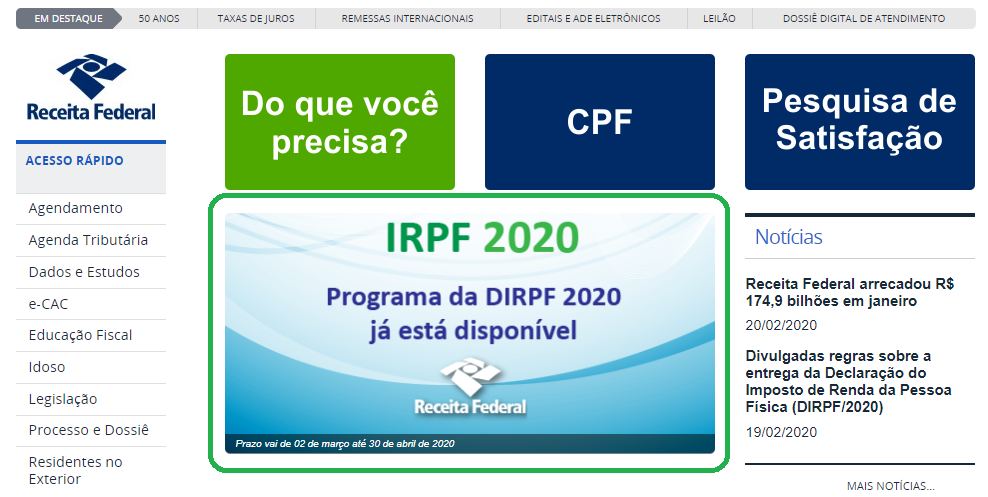 Programa e Prazo de entrega imposto de renda 2020