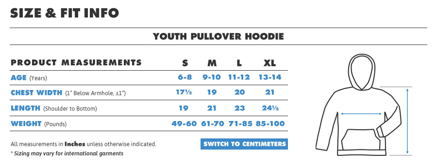 Kids youth hoodie inches