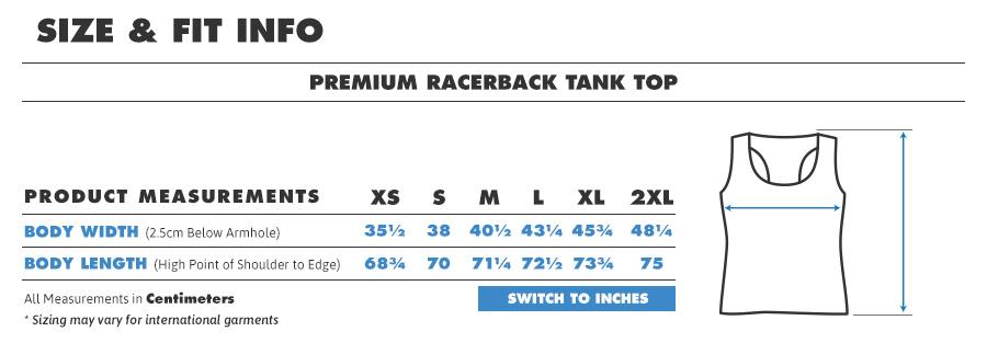 Tank premium racerback centimeters