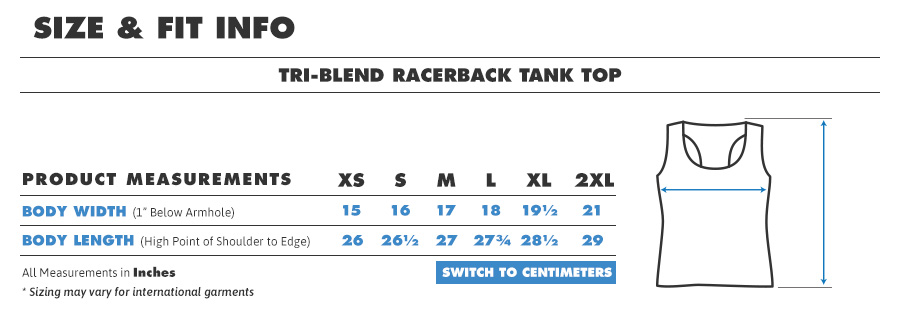 Tank triblend racerback inches
