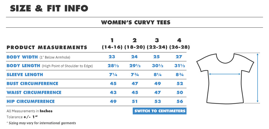 Tee female curvy inches