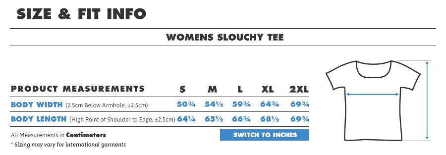 Tee female slouch t centimeters