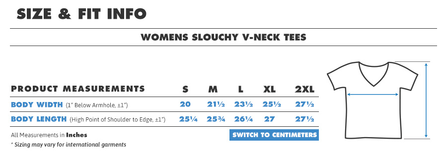 Tee female slouch v inches