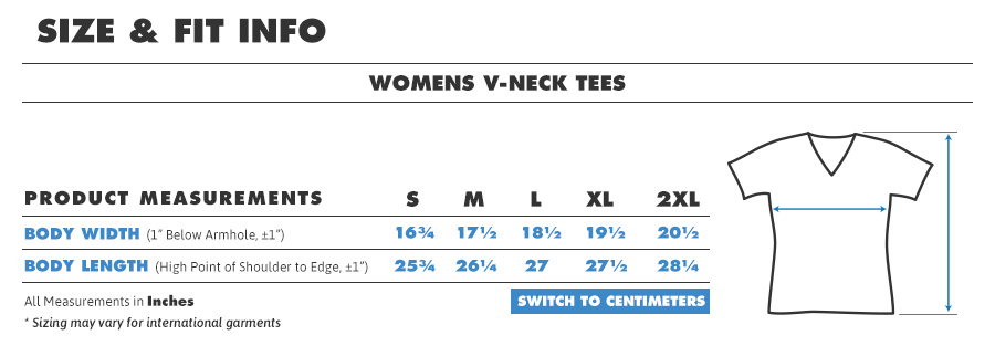 Tee female vneck inches
